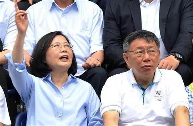 總統蔡英文(左)、台北市長柯文哲(右)。(資料照片,劉宗龍攝)