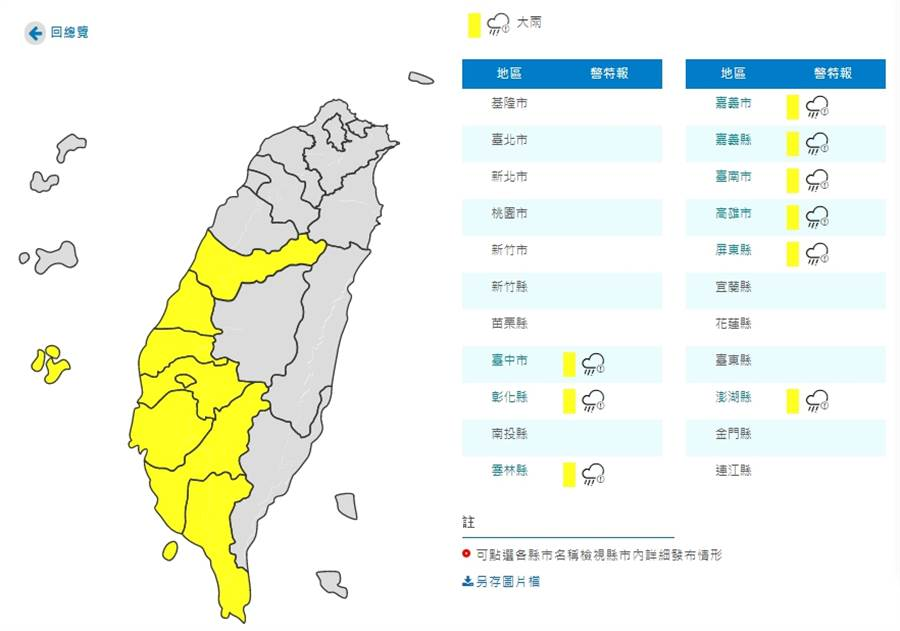 台中以南9縣市大雨特報(圖/氣象局)