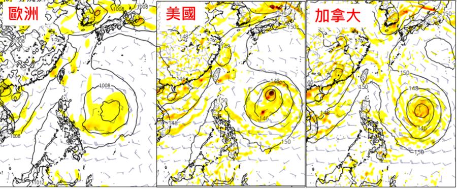 各國模式〔歐洲ECMWF(左圖)、美國GFS(中圖)、加拿大CMC(右圖)〕模擬顯示,在菲律賓東方海面,有颱風生成的機率,但是各國模擬的位置、強度都不同。(圖擷自tropical tidbits)
