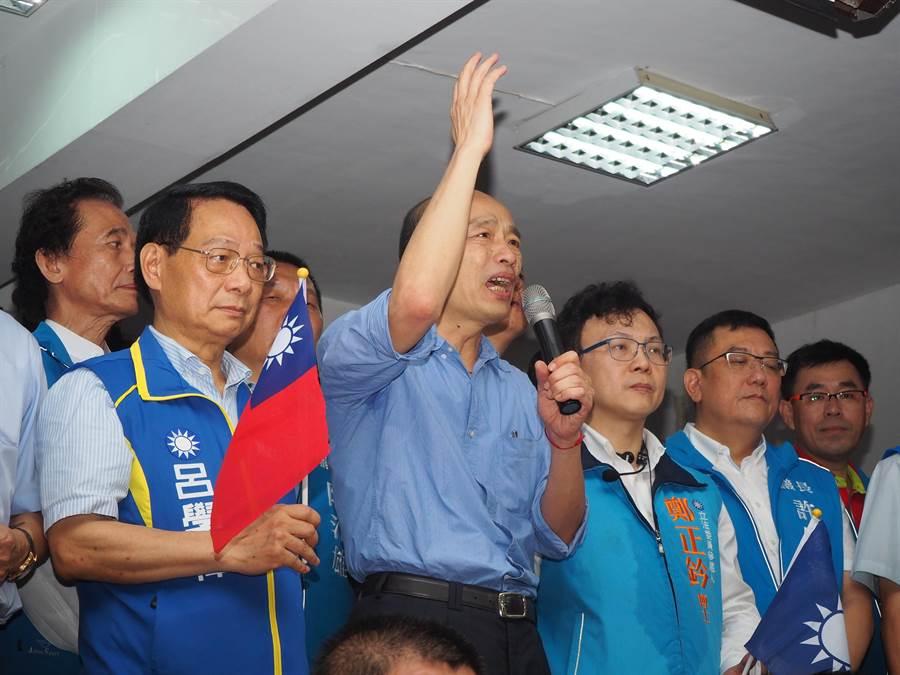 高雄市長韓國瑜18日到國民黨新竹市黨部演說。(陳育賢攝)