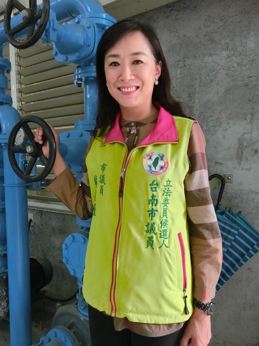 外型亮麗的林宜瑾在地服務21年,深根基層服務,議員轉戰立委,全力拚勝選。(曹婷婷攝)