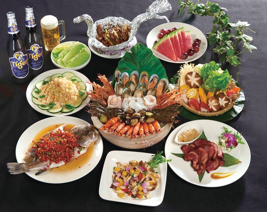 晶宴會館推「六人海味蝦霸套餐」原價4,500元,限時特價3,980元含服務費,CP值高。圖/業者提供
