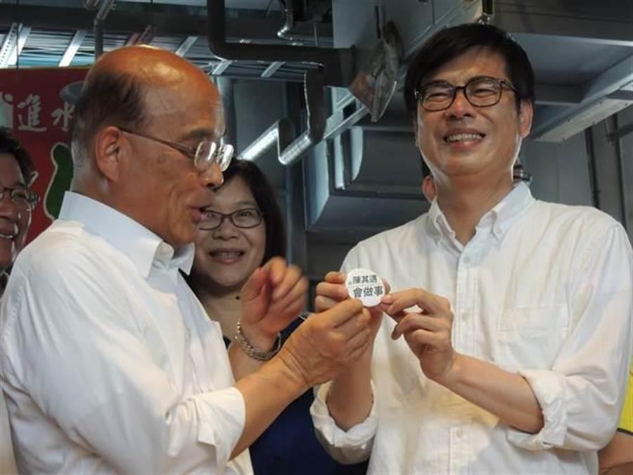 行政院長蘇貞昌(左)、行政院副院長陳其邁(右)。(中時資料照)