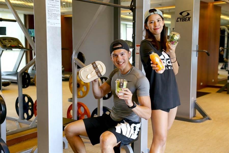 不只針對外食族,裕元花園酒店「健康飲食餐盒」也鎖定飯店健康俱樂部陽光筋肉男女,給予他們重訓前後補充能量的選擇。(馮惠宜翻攝)