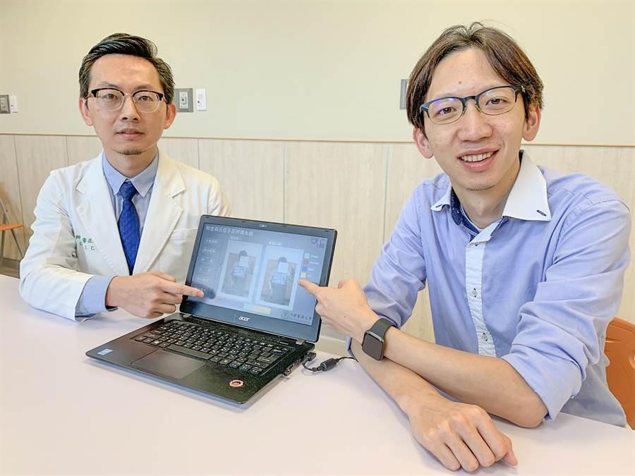 中醫大神經內科主任陳睿正(左)與清大電機系教授李祈均(右)的團隊合作,運用AI判斷帕金森氏症,準確率高達8成。(羅浚濱攝)