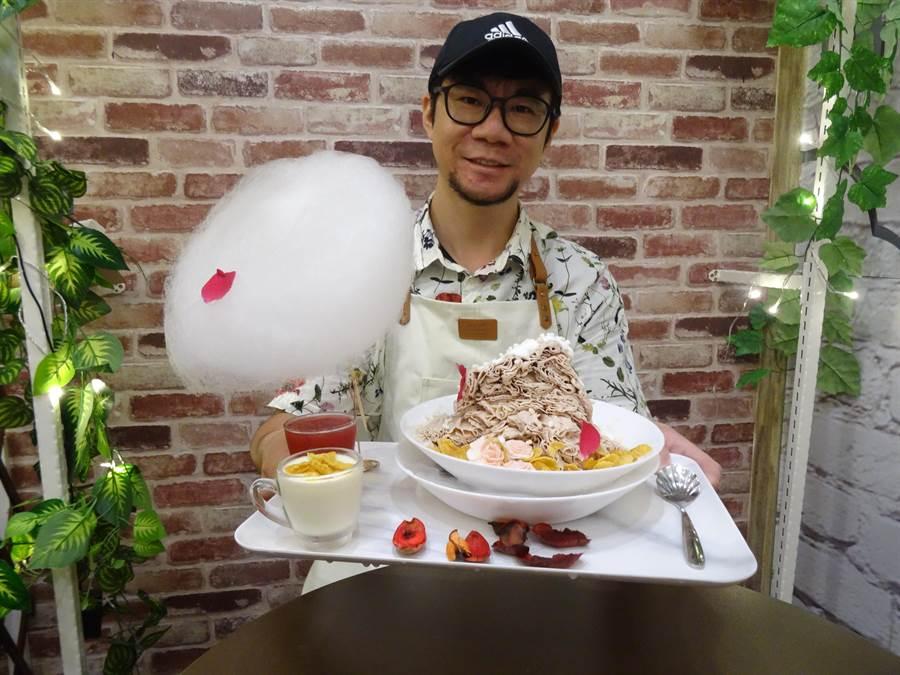 「偷晴雪花冰果室」老闆賴士寰把冰品當成藝術品來製作,不但嚴選食材,更在擺盤上用心思。(馮惠宜攝)