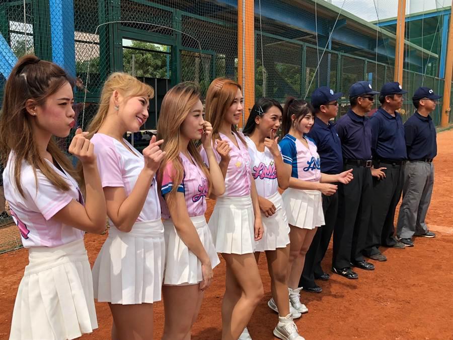 6名LamiGirls桃猿職棒啦啦隊員跨海助陣,為金門棒球邀請賽帶來青春活力。(李金生攝)