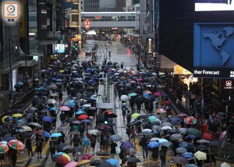 香港民陣18日在維園舉行反送中集會。 (摘自香港東網)