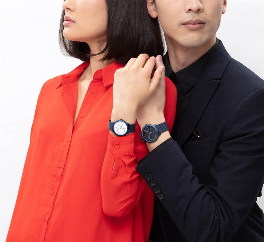 CALVIN KLEIN minimal系列藍調腕表,將時尚流行的大LOGO融入表盤。(CALVIN KLEIN提供)