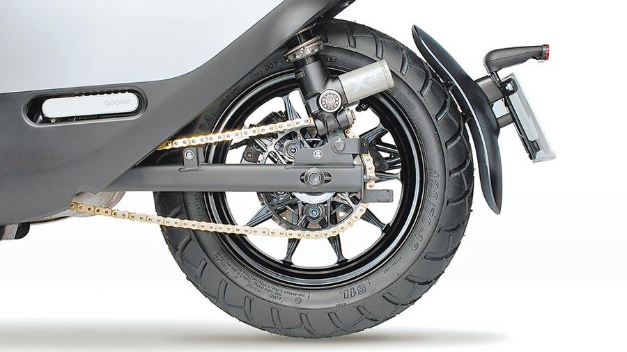 12吋鍛造後輪鋁框輕盈且堅韌,售價1.8萬元。(Gogoro提供)