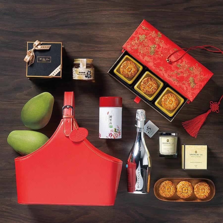 香格里拉台北遠東國際大飯店除了傳統月餅禮盒,今年還推出2款時尚禮籃讓民眾選擇。(圖/香格里拉台北遠東國際大飯店)