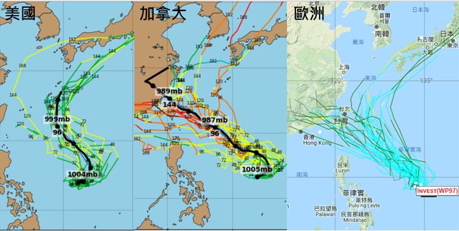 美國GFS(左圖)、加拿大CMC(中圖)及歐洲ECMWF(右圖)模式系集模擬顯示,大致從琉球附近北上至影響台灣、穿過台灣,機率皆存在。(圖擷自tropical tidbits&NOAA)