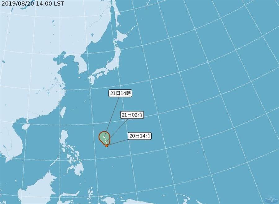 今年第16號熱帶性低氣壓(TD)下午形成,距發展成颱風還差一步。(圖/取自氣象局網頁)