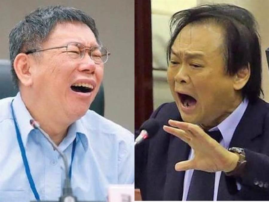 針對台北市長柯文哲(左)立場反覆,民進黨北市議員王世堅(右)痛批柯是「忘恩負義的渣渣」。(本報資料照)