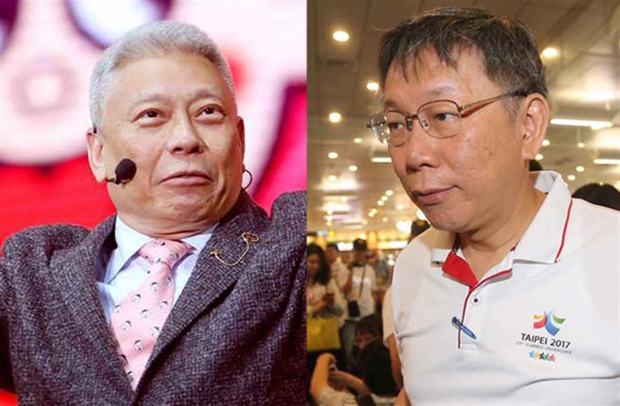 旺旺集團董事長蔡𧗠明(左)、台北市長柯文哲。(圖/本報系資料照片)