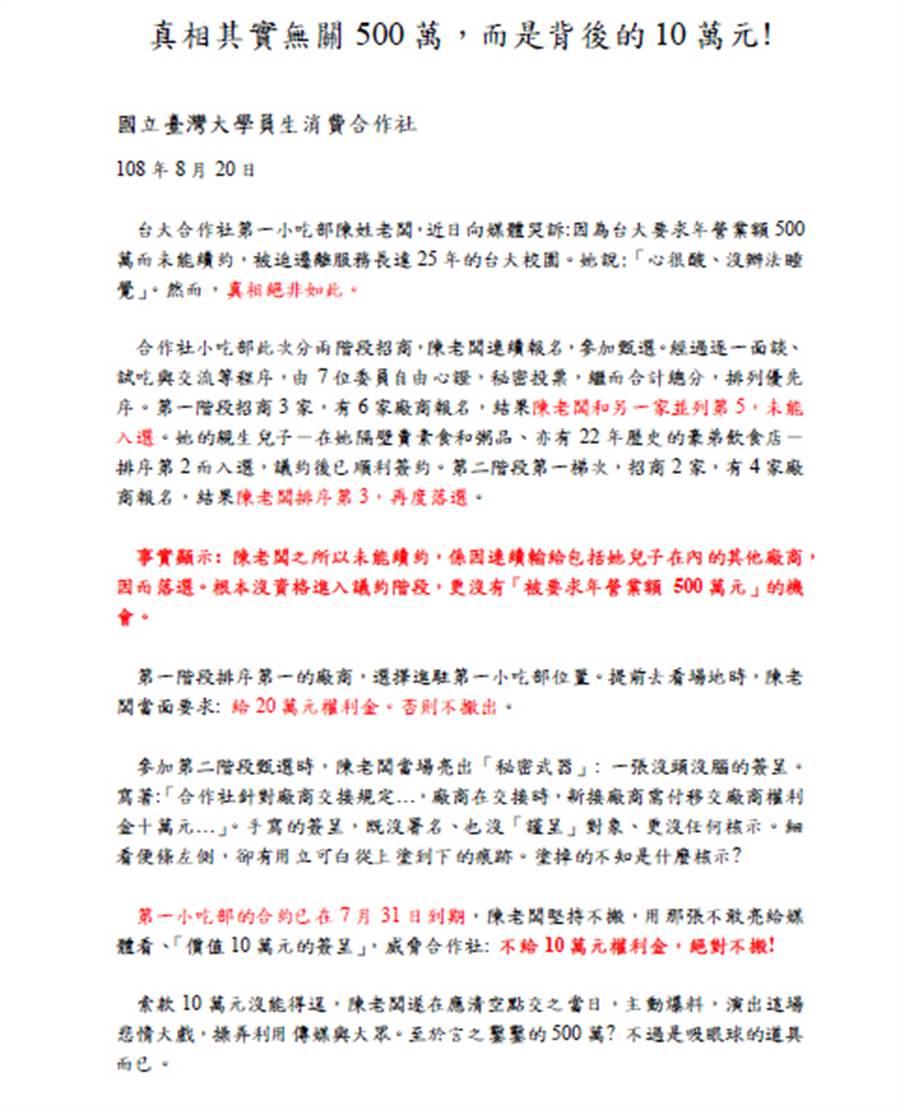 台大福利社公告全文 (圖/台大提供)