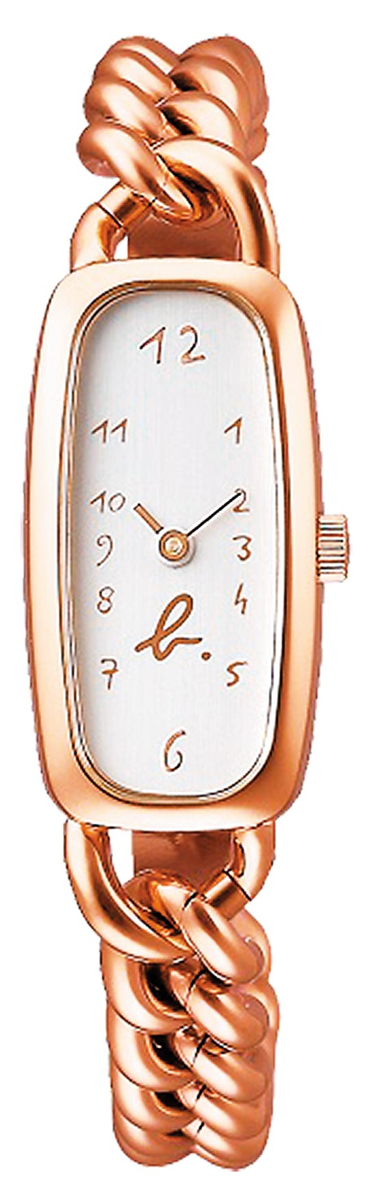 agnes b.復刻30年前掀起流行風潮的修長型表款,玫瑰金款1萬400元。(agnes b.提供)