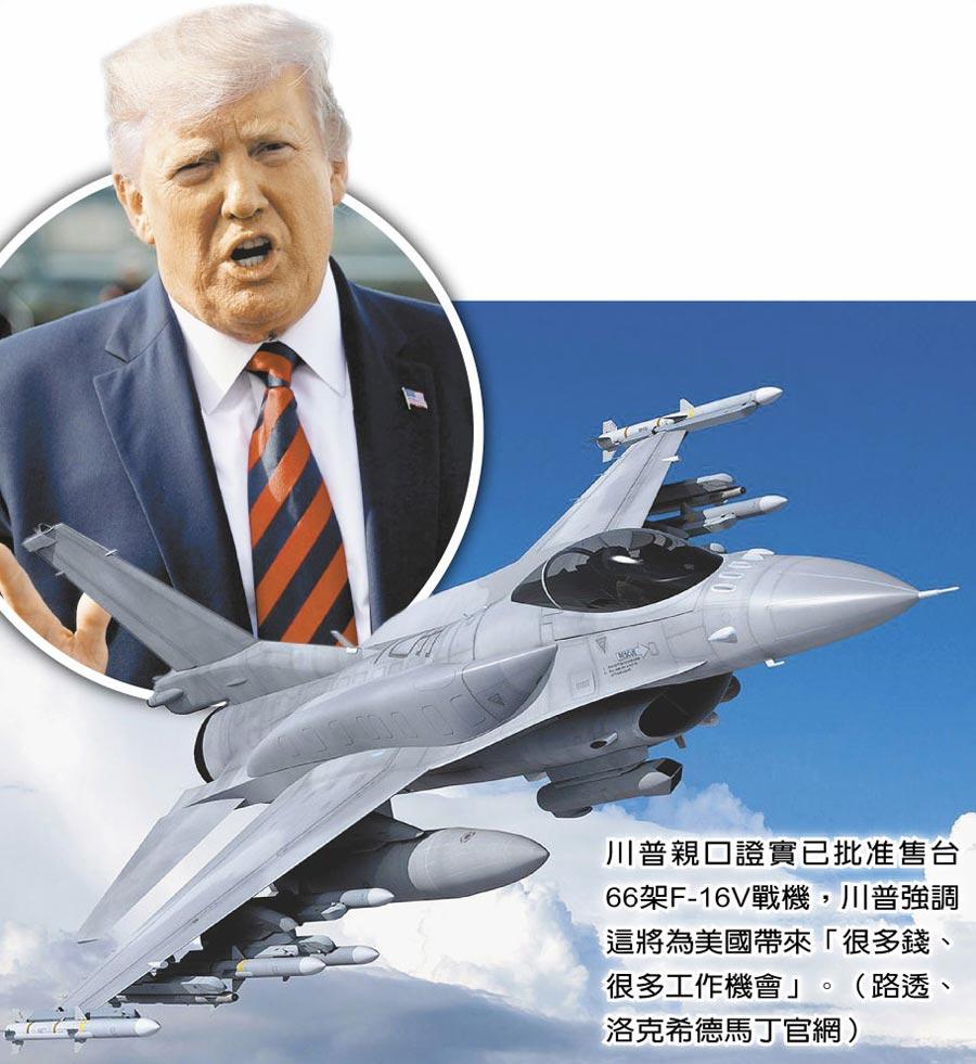 川普親口證實已批准售台66架F-16V戰機,川普強調這將為美國帶來「很多錢、很多工作機會」。(路透、洛克希德馬丁官網)