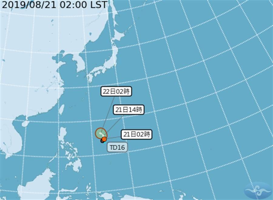 位於菲律賓東方海面上的熱帶性低氣壓最快今、明可能生成颱風。(圖/取自中央氣象局)