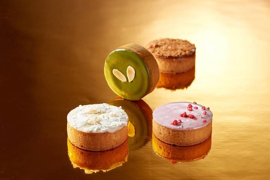 台北福華飯店今年首度推出法式月餅〈香頌禮盒〉,以歐式點心手法詮釋中式月餅,共有4款不同口味。(圖/台北福華飯店)