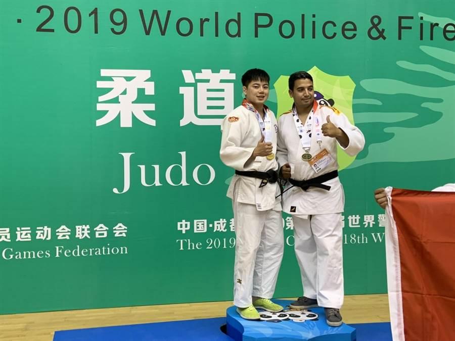 中壢警分局巡官連英傑,首度參加世界警消運動會勇奪3金1銅。(警方提供)