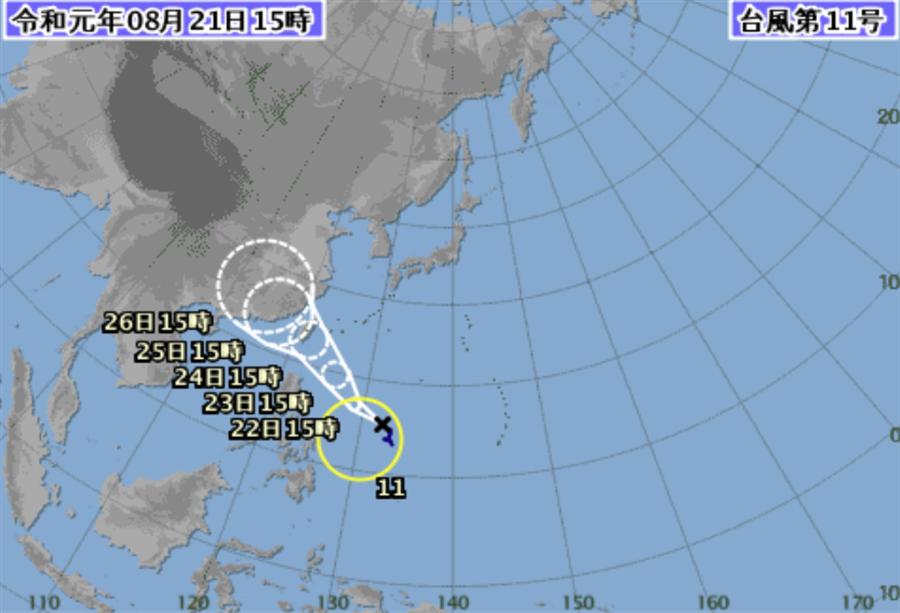 颱風直撲台灣而來。(翻攝自日本細項聽)