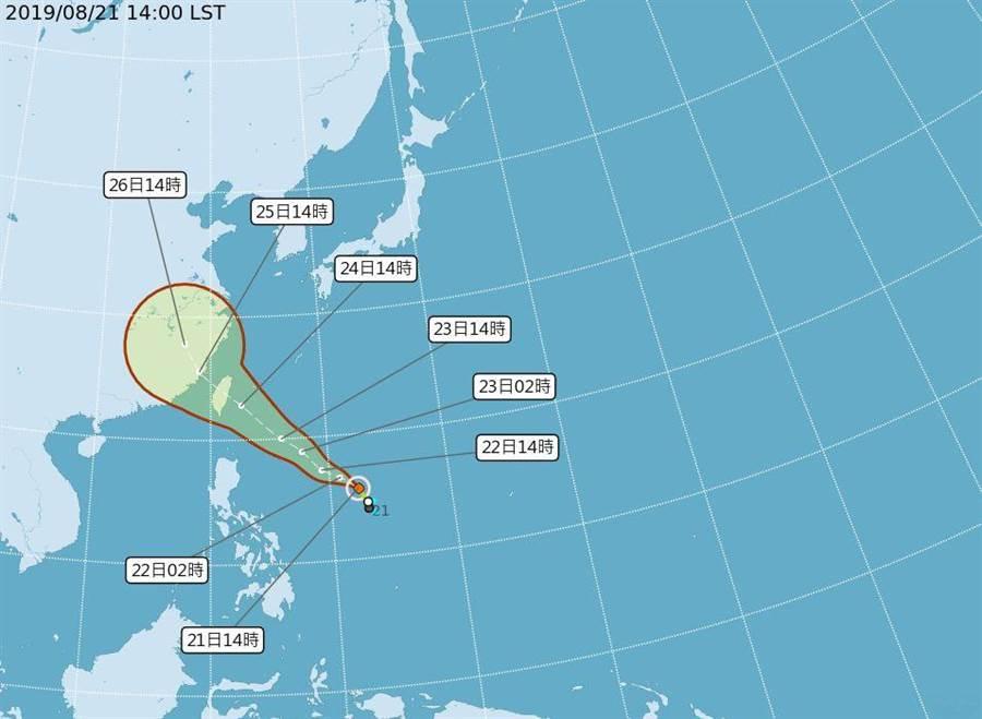 白鹿颱風生成,不排除周五發布海上警報。(圖/取自氣象局網頁)