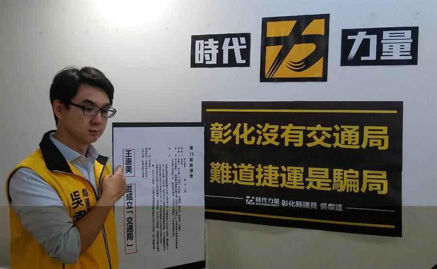 議員吳韋達提出縣府要增設或改建交通旅遊局。(吳敏菁翻攝)