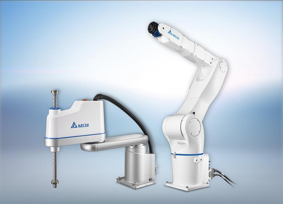 台達推出SCARA工業機器人DRS系列(左)及垂直多關節機器人DRV系列(右)新機種,最大負載及工作範圍提升,提供更多元選擇。圖/台達提供