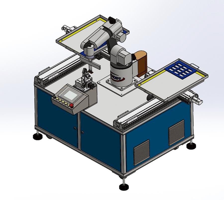 「智慧機器人皮革油邊機」用於皮革皮件,整合自動化油邊,油邊過程可以彈性更換尺寸,適合於少量多樣的生產線。圖/勵德提供