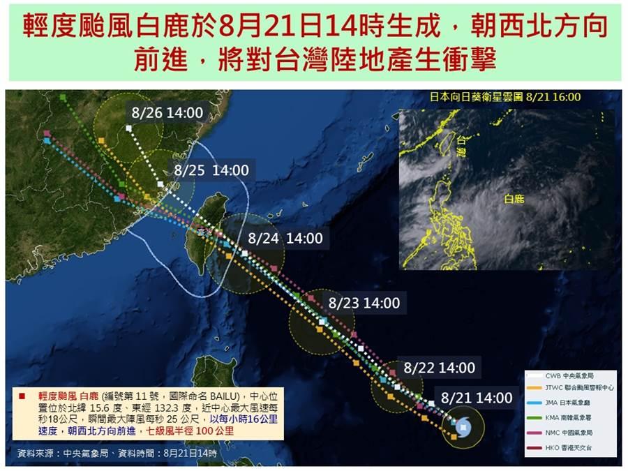 國家災害防救科技中心(NCDR)預警,白鹿周末將「對台灣陸地產生衝擊」。(圖/取自NCDR)
