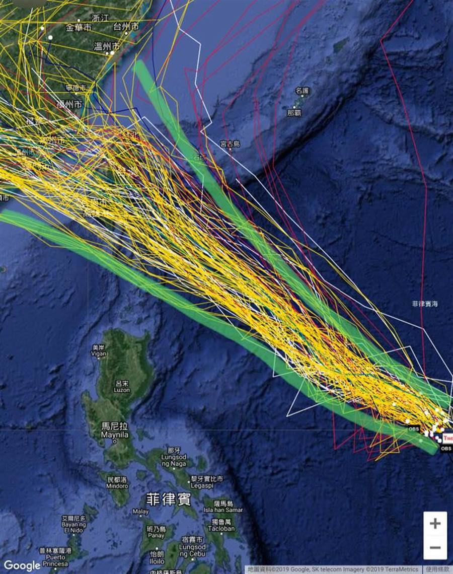 輕颱白鹿的預估路線從台灣頭到尾都有。(圖取自賈新興臉書)