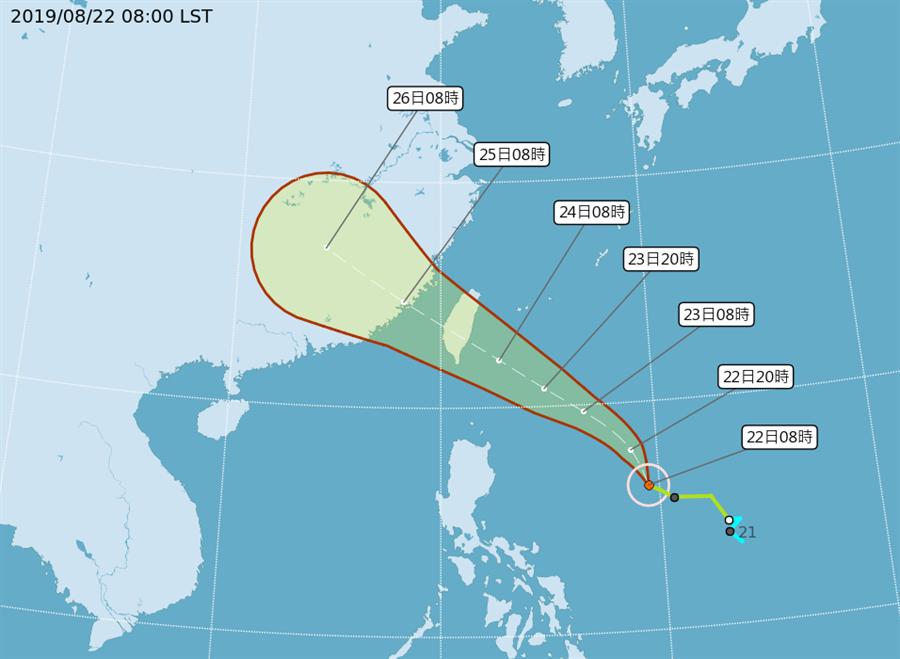 圖為最新颱風路徑。(氣象局)