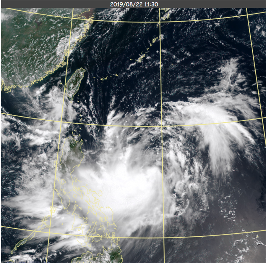 圖為白鹿颱風為新雲圖照。(氣象局)