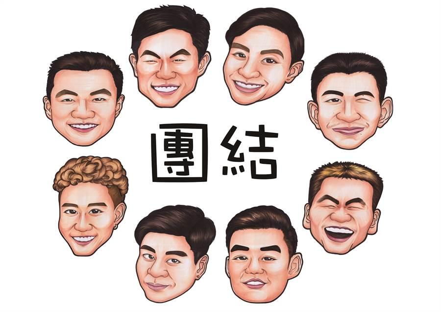 羽協推出以8位台灣男將為主角的Line貼圖。(中華羽協提供)