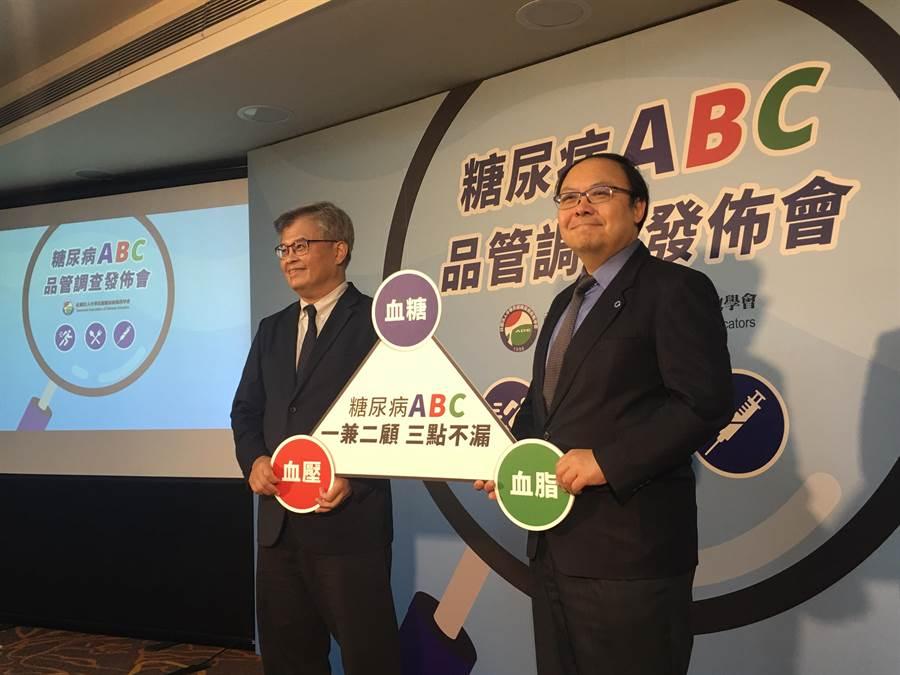 糖尿病衛教學會理事長杜思德(左)及糖尿病衛教學會秘書長王治元(右)。(林周義攝)