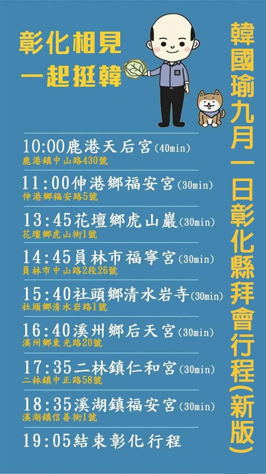 國民黨提名總統參選人韓國瑜9月1日彰化縣拜會行程最新版出爐。(吳敏菁翻攝)
