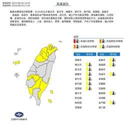 颱風外圍環流沉降 11縣市高溫亮黃燈