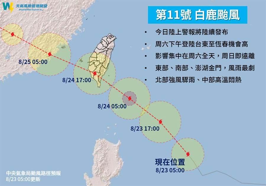 白鹿移動速度快,對台灣的影響主要是在東南部與南部。(圖/取自天氣風險公司網頁)