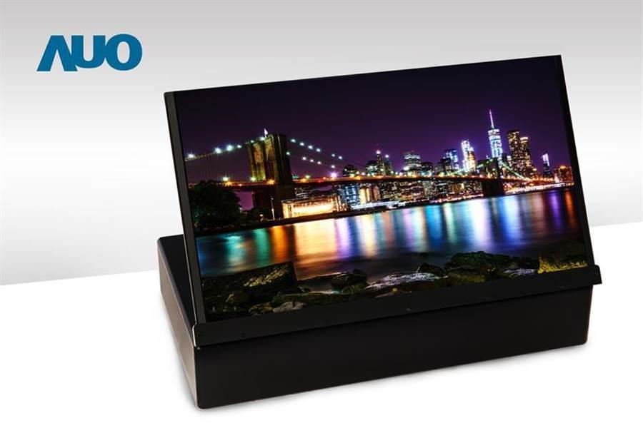 友達17.3吋UHD 4K噴墨印刷OLED顯示技術。(圖/友達提供)