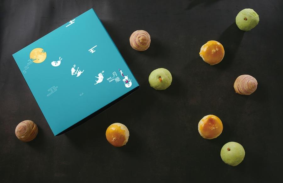 北投雅樂軒今年推出的「月樂2019中秋禮盒」酥皮月餅禮盒,很有品牌年輕活潑的特色。圖/業者提供
