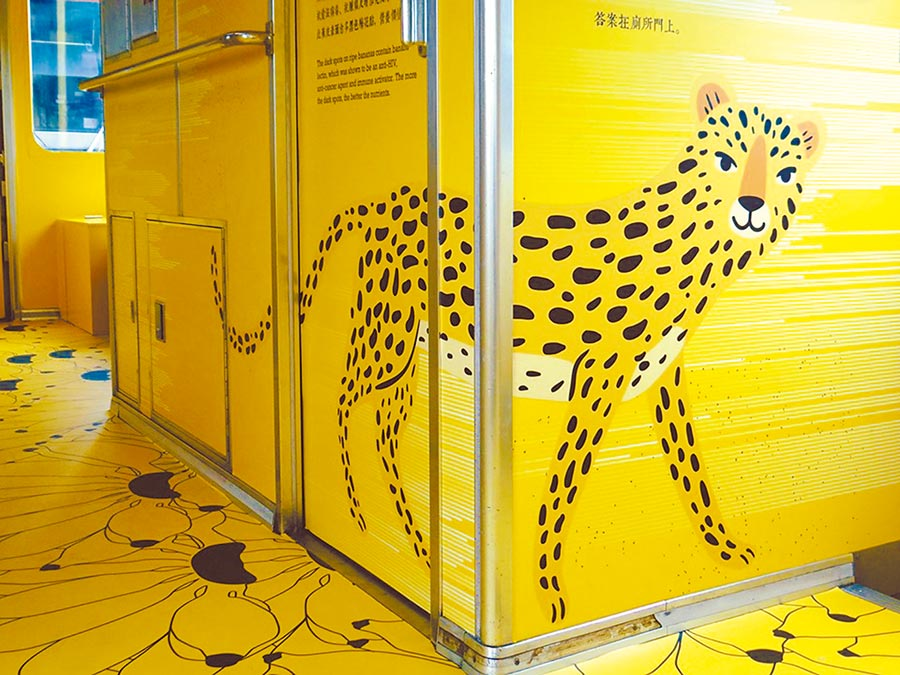 觀光彩繪列車上的石虎挨批像花豹,觀光局決定將石虎全部塗掉。(台鐵提供)