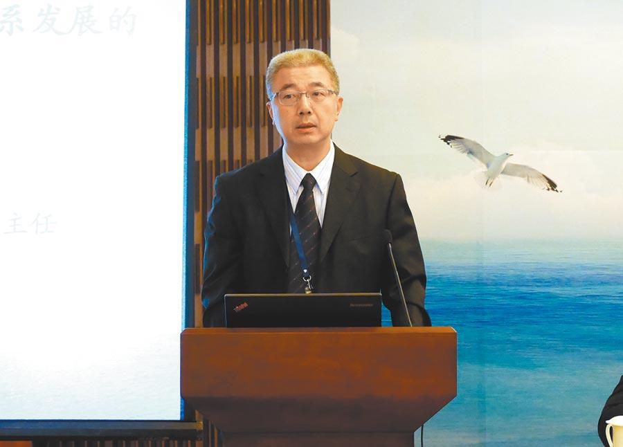 中國社科院台研所綜合室主任金奕,22日談台灣國安五法對兩岸關係的影響。(記者陳君碩攝)