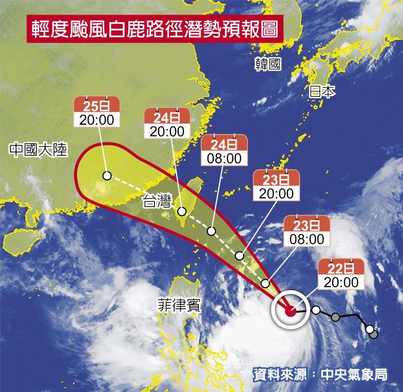 輕度颱風白鹿路徑潛勢預報圖