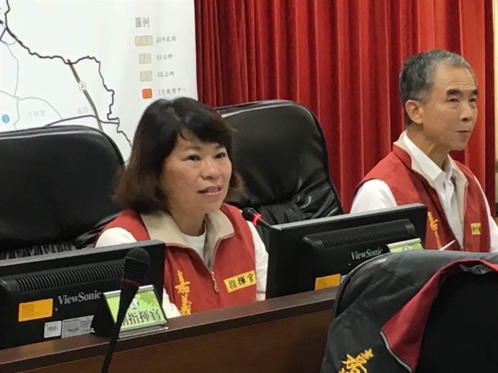 嘉義市災害應變中心一級開設,市長兼指揮官黃敏惠進駐指揮。(廖素慧攝)