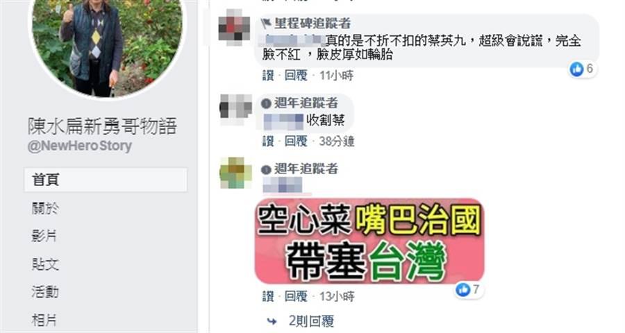網友在陳水扁臉書留言。(圖/翻攝自陳水扁新勇哥物語)