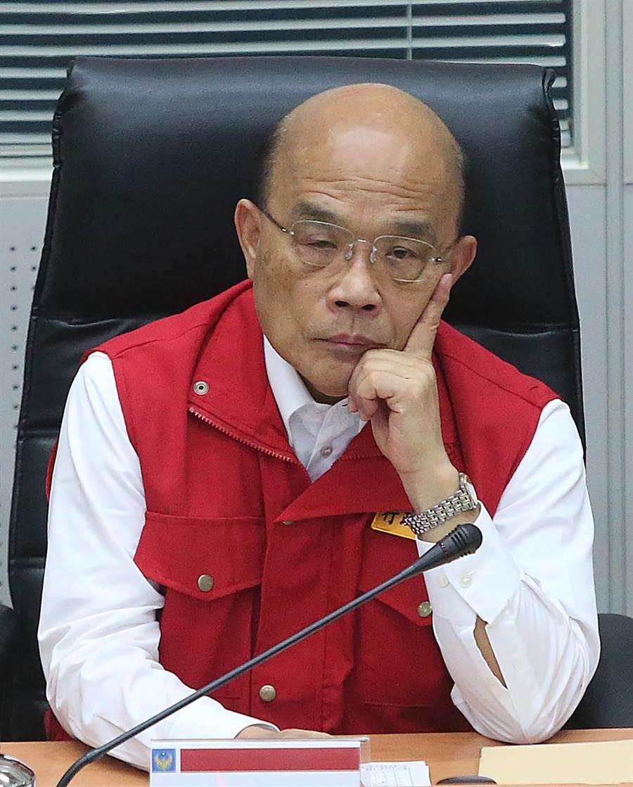 蘇貞昌call out六縣市了解颱風狀況,因澎湖打不通怒了。(趙雙傑攝)
