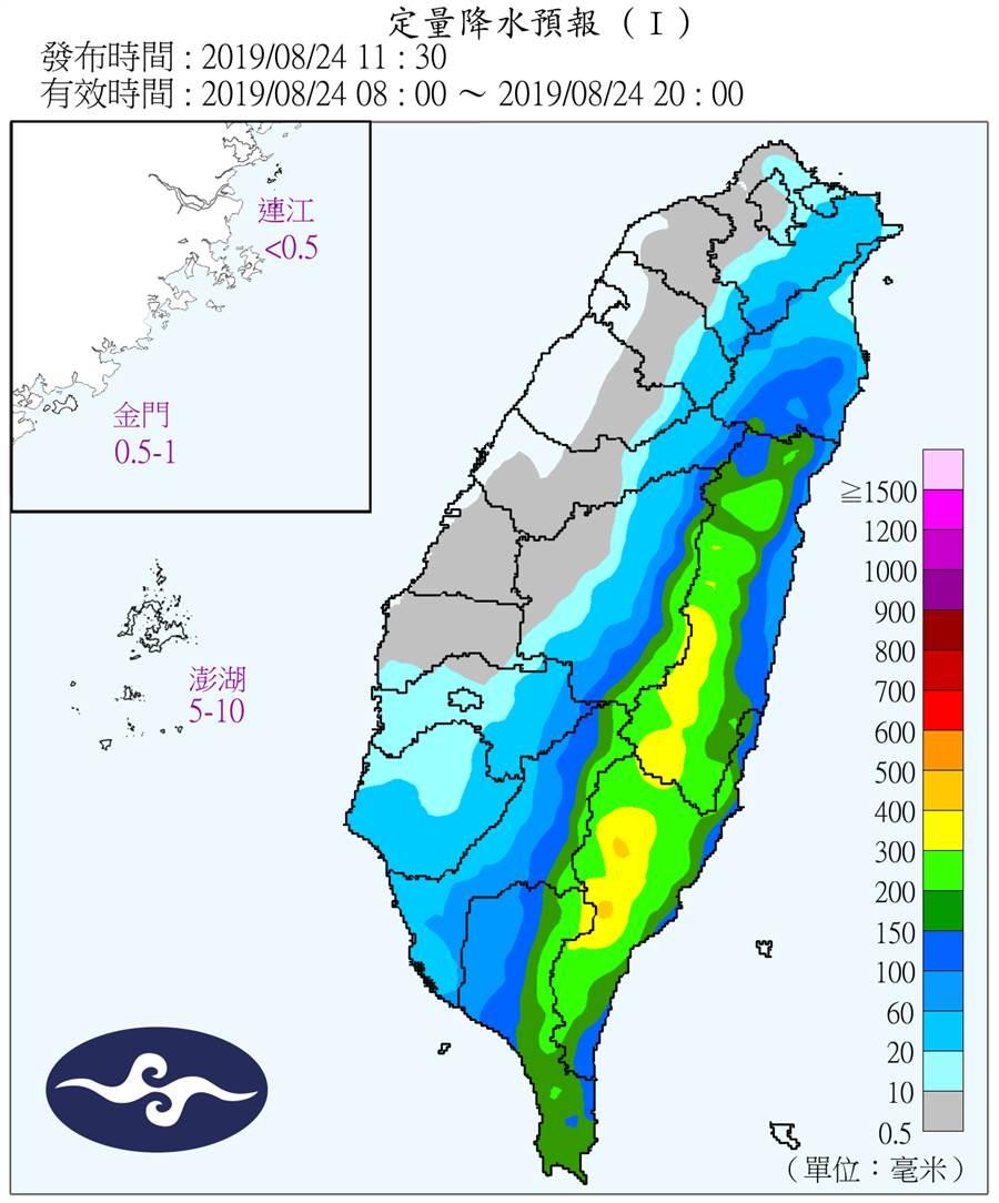 西南部地區目前處背風側,暴風圈越過山脈後,便會對西南部地區帶來可觀降雨量。(中央氣象局)