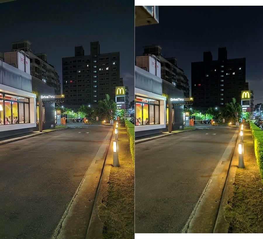Galaxy Note 10 與 Pixel 3 夜拍對比照(2)。(圖/黃慧雯攝)