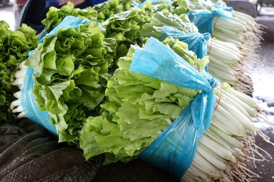 一捆3公斤小白菜最高價曾到400元。(周麗蘭攝)